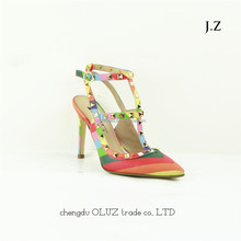 OS21fashion lady Studded T-Strap Metal High Heels