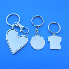 heart/T shirt shape sports blank key holder sublimation metal keychain