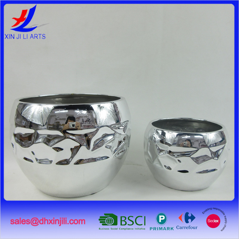 electroplated ceramic outdoor flower pots decoration