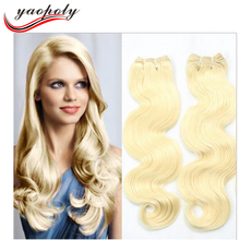 Bleach Blonde Brazilian Hair Body Wave 3Pcs Lots Human Blonde Virgin Hair Extensions Weave Color #613 Hair