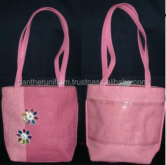 Laminated jute shoping tote Bag with self handle