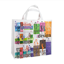 Pictures printing 80gsm polypropylene non woven fabric shopping bag with handle