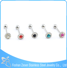Professional factory medical steel personalized crystal anti-allergic tongue ring