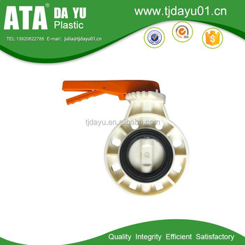 ABS MATERIAL WHITE BODY BUTTERFLY VALVE ORANGE HANDLE
