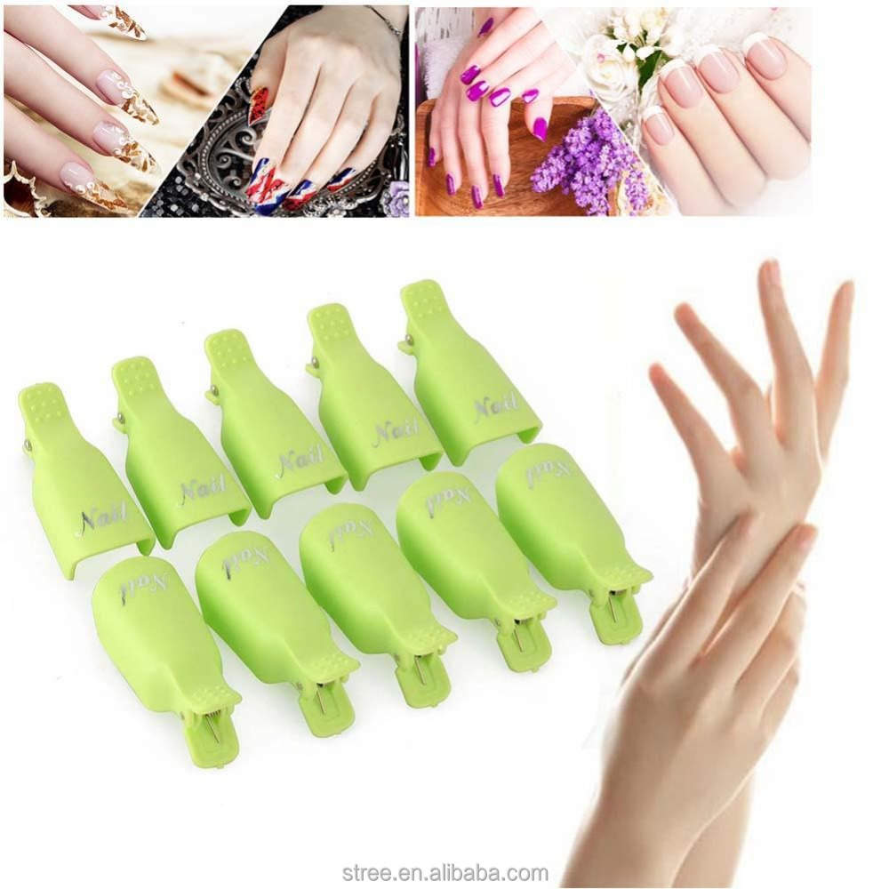 10PCS x Stylish Plastic Nail Art Soak Off Clip Cap UV Gel Polish Remover Wrap Tool gel removal cap clip