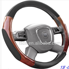 Fashion new design men accessories dark wood grain rubber steering wheel cover