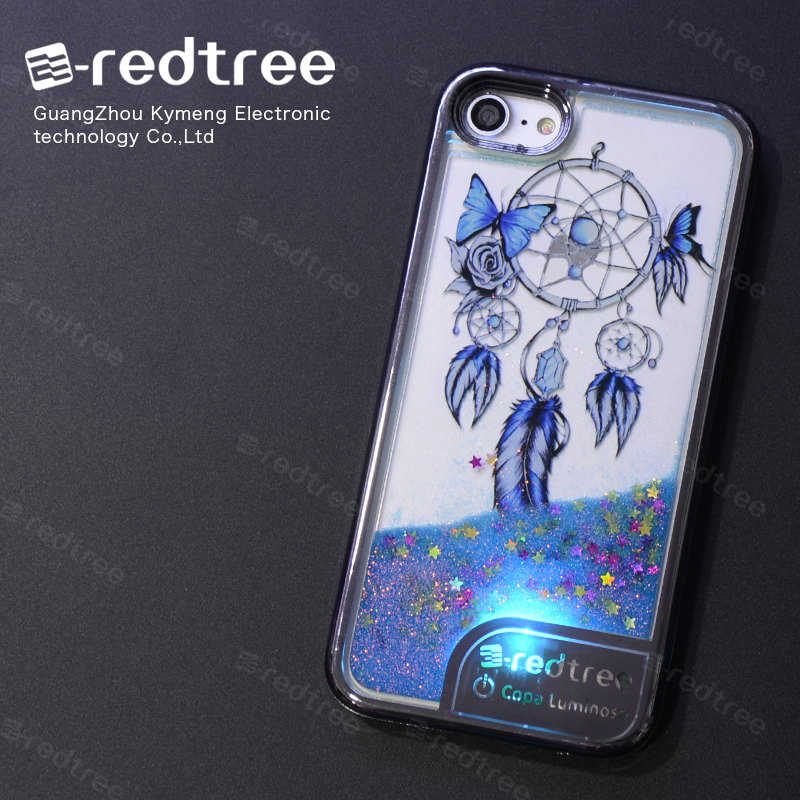 E-redtree electroplating light up phone case liquid glitter back cover for samsung galaxy s5 for iphone 6 7 case