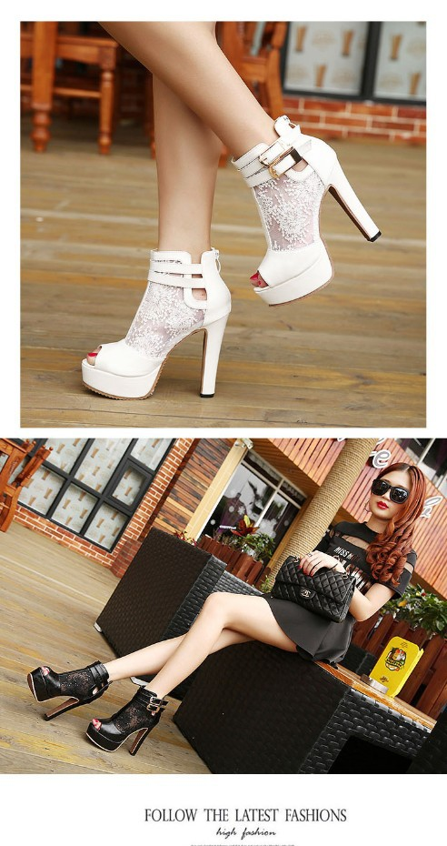 2016 Autumn New High Heels 10cm Peep Toe Platform series ladies Pumps Shoes Serpentine cloth black sey women party footwear