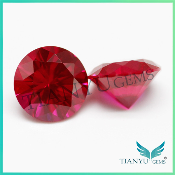 Free Sample Round Synthetic Corundum Color #8 Star Cut Ruby Rough
