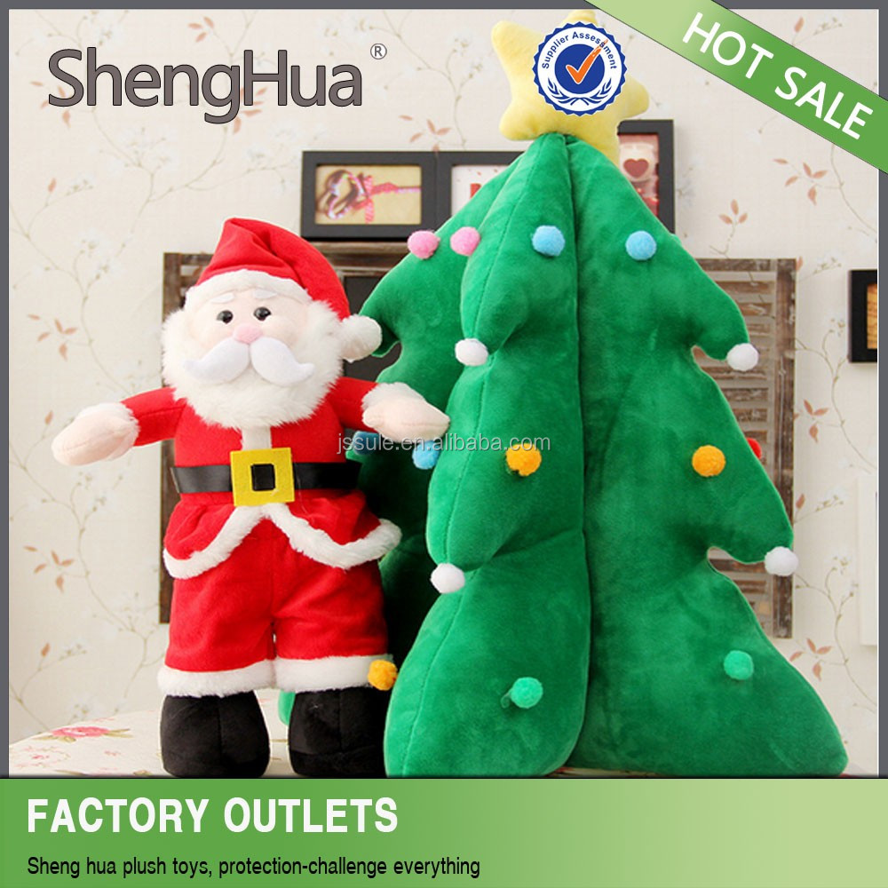2016 Online wholesale good price cute comfortable christmas decoration plush toys Christmas tree santa claus made in yangzhou