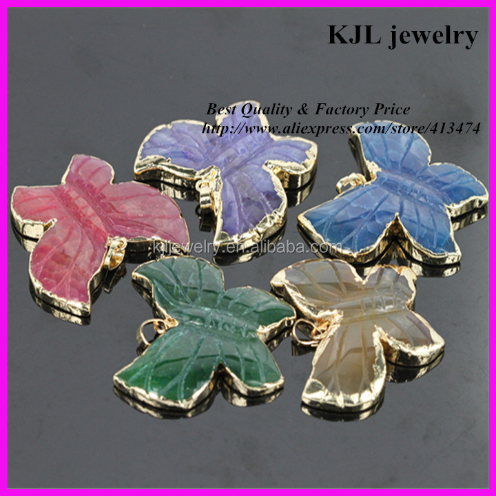 KJL-A085 natural agate stone pendant,mix color butterfly shape gem stone jewelry pendant