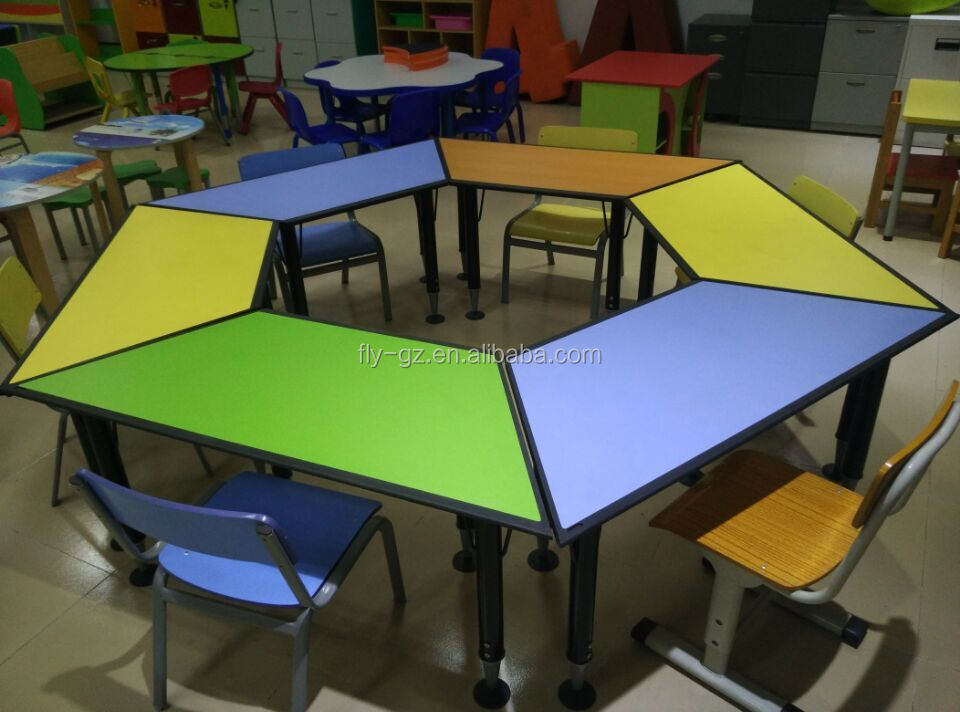 kids school furniture study hexagonal table