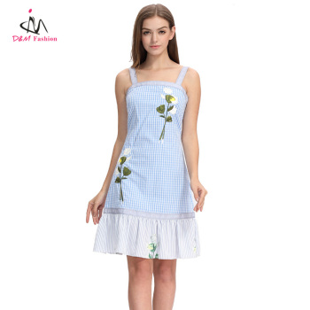 Summer Party Casual Backless Sleeveless Slip Dress Women Light Blue Stripe Flower Hand Embroidery Dress
