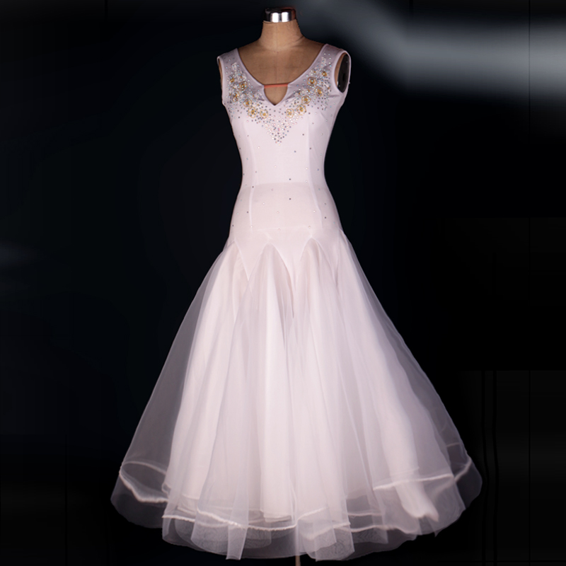 OCTM054 WOMEN MODERN WHITE WALTZ TANGO SMOOTH BALLROOM DANCE DRESS STANDARD BALLROOM BILLOWING DRESS