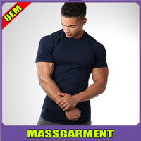 Hot sale navy soft elastic t shirt Slim fit round neck tee shirt Gym wear men bodybuilding strong muscle t shirt
