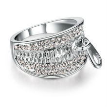 Hot selling wide band pave diamond ring crystal ring most special design zipper ring