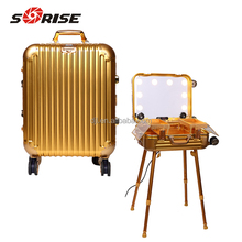 Wholesale Sunrise Professional aluminum cosmetic stand Makeup Case with light mirror wheels