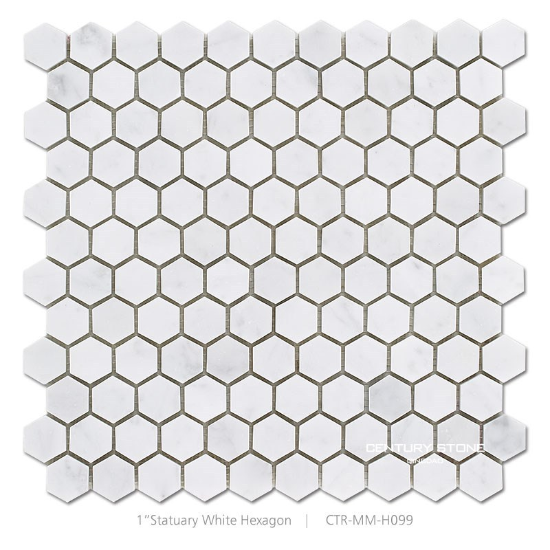 century 1 inch design polished marbl white hexagon mosaic floor tile for bathroom