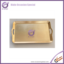 #18569 Wedding deocration gold square plastic tray