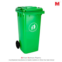 hot 120L two wheeled bin plastic dustbin plastic garbage bin 120L