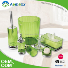 Eco-Friendly Feature Green Plastic Material bathroom accessory set