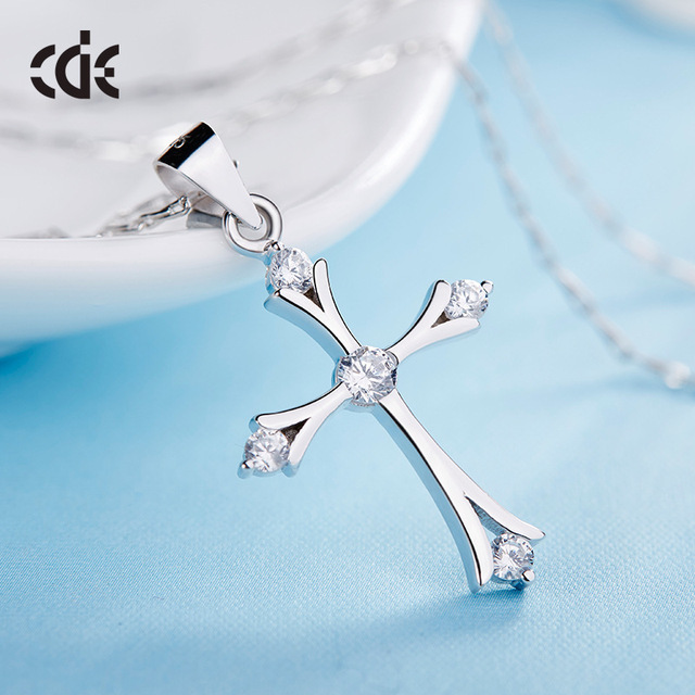 925 Sterling Silver Cross Crystal Faith Necklace