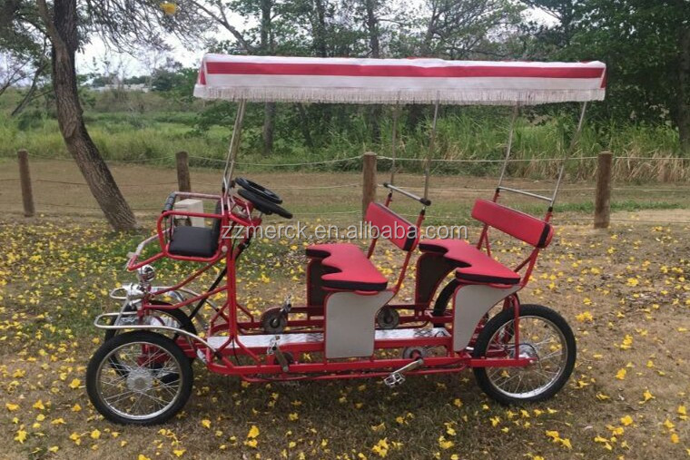 China Cheap Pedal Quadricycle Bike, Tour Rental Tandem Surrey Fahrrad 4 Passenger Bike