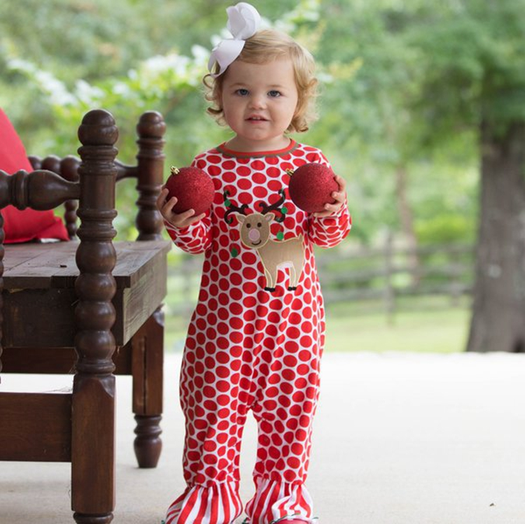 Latest design fall winter soft cotton red deer polka dots baby romper set