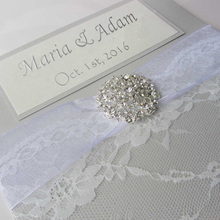 Elegant Brooch Ribbon Card with Printing Words Rustic Lace Wedding Invitation
