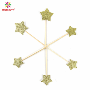 Handmade Gold Glitter Star Shaped Wedding Cake Topper
