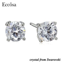 Eccosa Top Quality Earings For Women 2017 Hot Sale Korean Crystal Stud Earring With Crystal From Swarovski