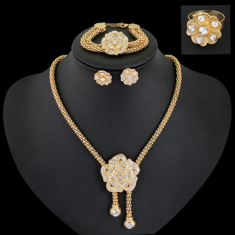 New Gold Plated Austrian Crystal Flower Necklace Bracelet Ring Earrings 4-Piece Jewelry Set for Women Indian Wedding Set