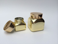 cosmetic square gold plating cream glass jar with gold screw lid