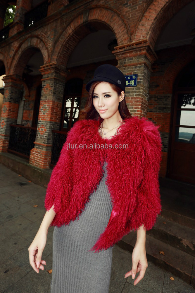 Model Show Mongolian Sheep Fur Short Jacket/Coat Winter Ladies Lamb Sheep Fur Dress