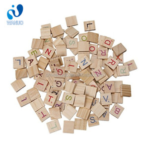 WanuoCraft Colorful Scrabble Tiles Wooden Letters For Crafts Wood Alphabet Toy