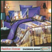 Microfiber city block 3d printed bedding set