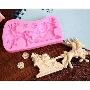 Christmas Santa Claus milu deer Shape Chocolate Candy Jello 3D silicone fondant lace Mold Mould cake decoration pastry tools