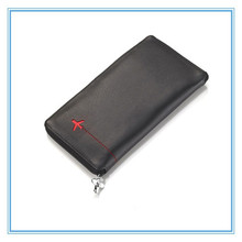 unisex Men Genuine Leather Wallet Purse Capacity for Passport Air Ticket Pen for Travel