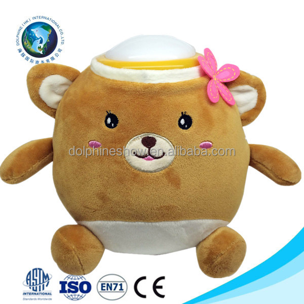3D kids toy stuffed soft toy plush brown teddy bear led night light projector custom cute baby light up teddy bear plush toy