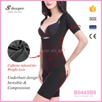 S - SHAPER Natural Slim Products Short Sleeve Caffeine Infused Bodysuit B0443B0