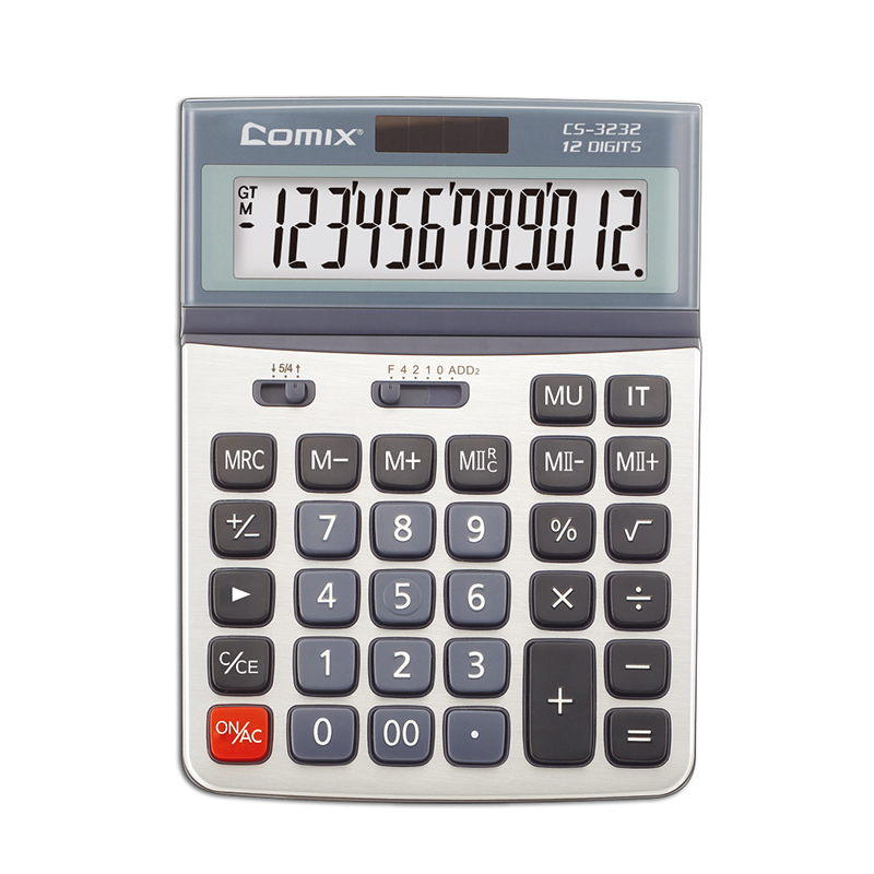 Large screen dual power 12 digits electronic citizen calculator