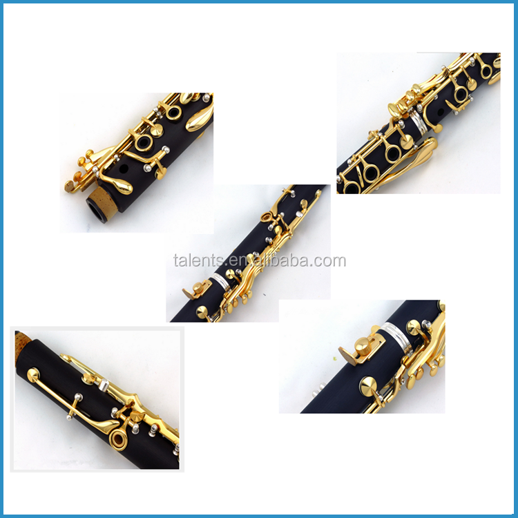17 Key clarinet, gold lacquer clarinet, wood composite clarinet