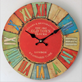 Distressed MDF Wood Wall Clock for Home Decoration