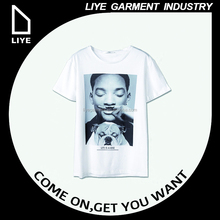 China Liye professional manufacturer high quality big print logo white o neck unisex t-shirt