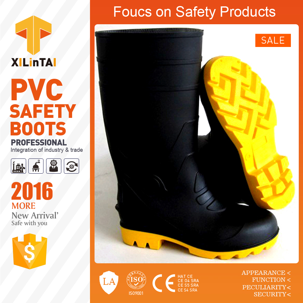 Steel Toe Black PVC Industrial Safety Shoes Boots