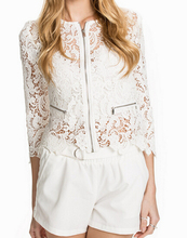 EY0634C 2016 fashion sheer floral white lace short cardigan women small coats