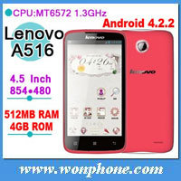 Original Lenovo A516 MTK6572 phone 4.5 inch Android 4.2 OS IPS Screen Dual Core Dual sim Smart Phone. In stock!!
