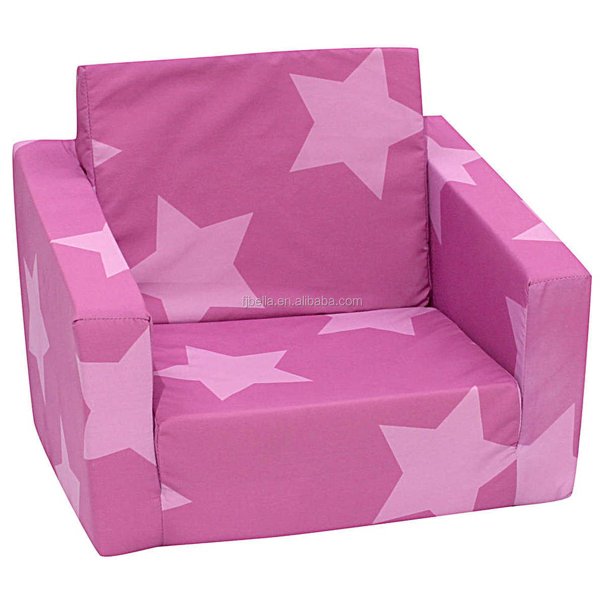 Memory Foam Child Sofa Lounger Folding Sofa Bed Lightweight Kid Party Sofa with Pink with Stars