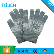 Customized Knitted Five Finger Gloves Winter Touch Screen Gloves
