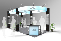 Design 3x3 trade show booth with two walls open